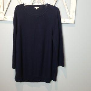 Talbots navy blue side slits sweater XL